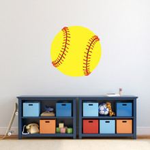 "Softball Printed Wall Decal 24"" wide x 24"" tall Sample Image"