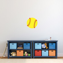 "Softball Printed Wall Decal 12"" wide x 12"" tall Sample Image"
