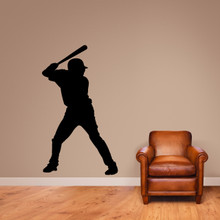 "Baseball Batter Silhouette Wall Decal 35"" wide x 60"" tall Sample Image"