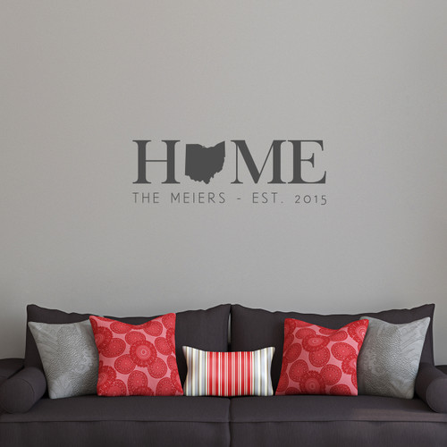 "Custom Home State Wall Decal 36"" wide x 12"" tall Sample Image"