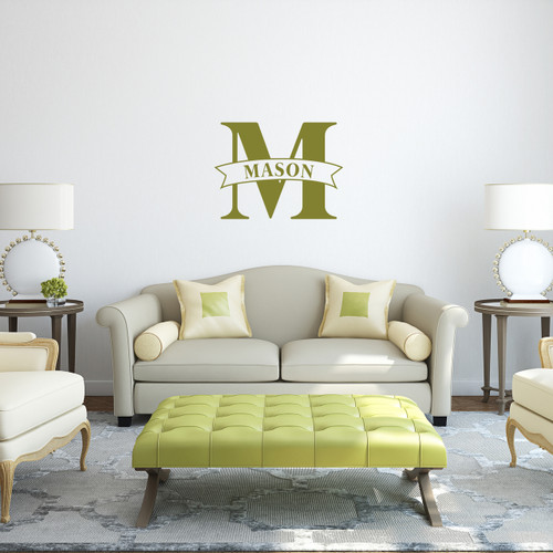 "Custom Name Banner And Monogram Wall Decal 24"" wide x 18"" tall Sample Image"