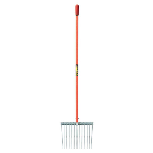 18-Tine Galvanized Bedding Fork, fiberglass handle