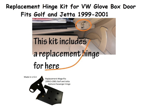 Glove Box Repair Kit for VW Golf and Jetta -Bottom Right Passenger Hinge Kit- (Black) 1999.5 - 2001