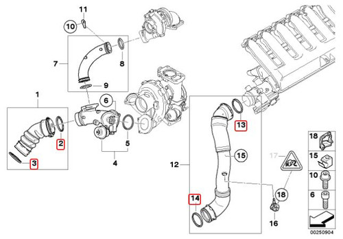335D Intercooler Seal Kit for OEM Pipes