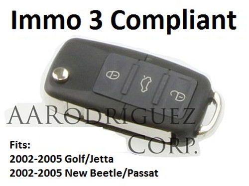 Replacement VW Key FOB for Late MK4 Golf, Jetta, Passat and New Beetle - Immo 3