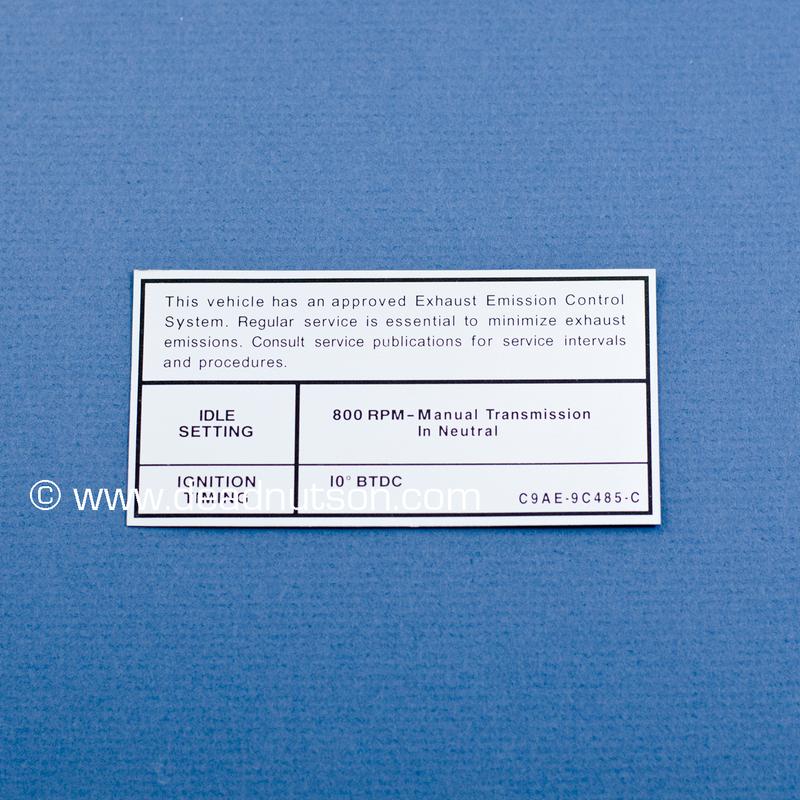 1969 BOSS 429 Engine Emission Decal 800 RPM