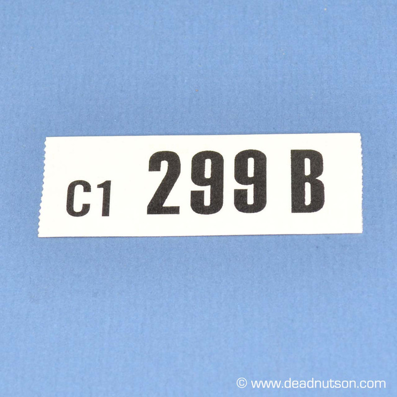 1970 BOSS 302 Engine ID Decal 299B C1