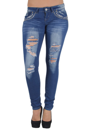 BR9-97019(S) - Low Rise Embellished Destroyed, Ripped, Sexy Skinny Jeans