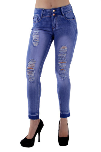 7Y051(S) - Colombian Design, Butt Lifting, Destroyed, Ripped, Ankle Jeans