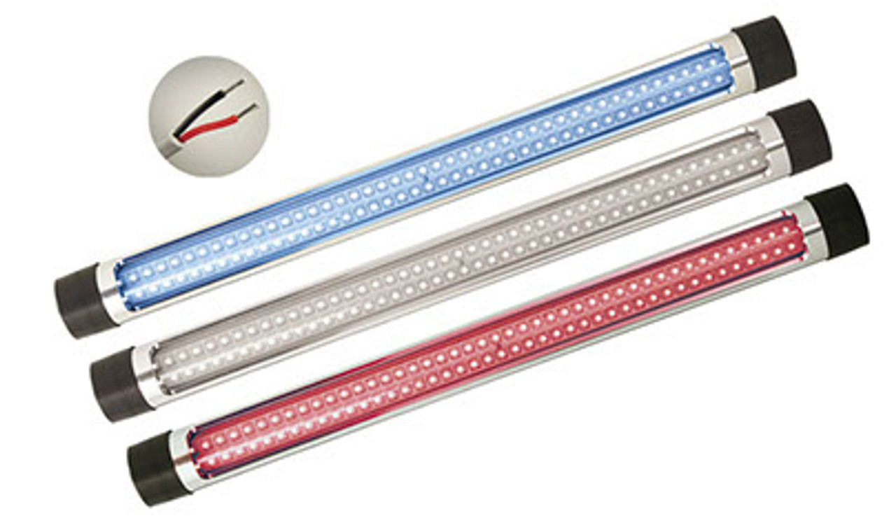 "Lifetime Warranty SeaMaster Lights Round Silver T-Top Light 50cm (23"") White/Red/Blue LED"