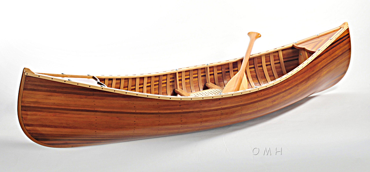 Cedar Strip Canoe Model Boat Flat Matte Finish