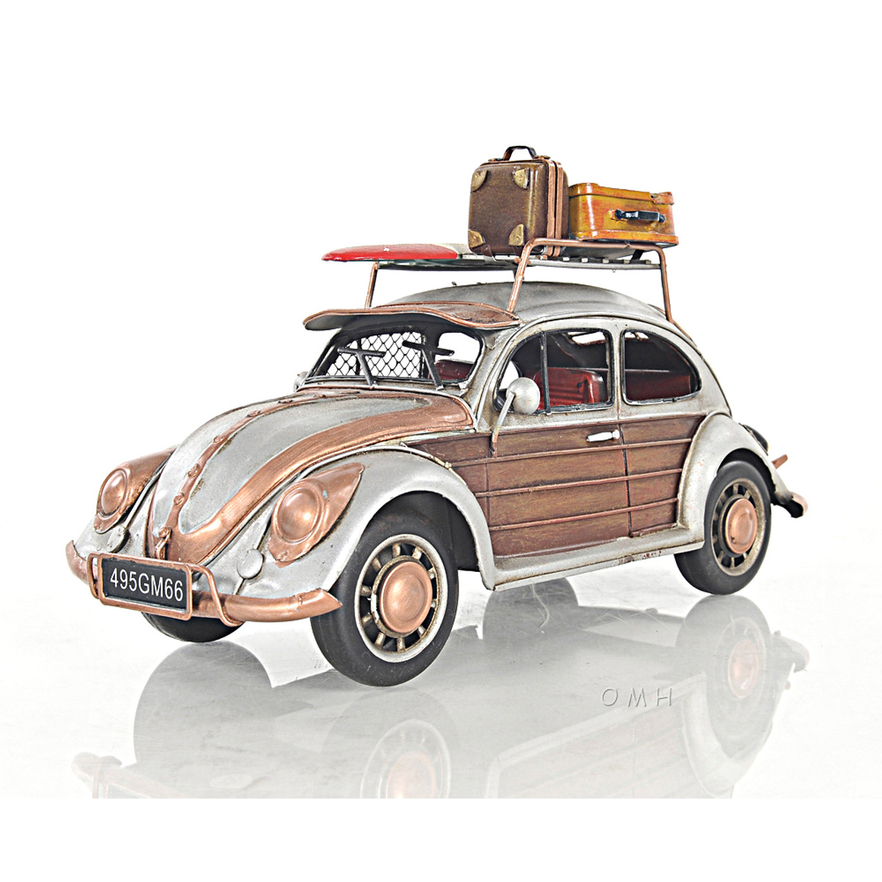Volkswagen VW Beetle Bug Metal Car Model Surf Board