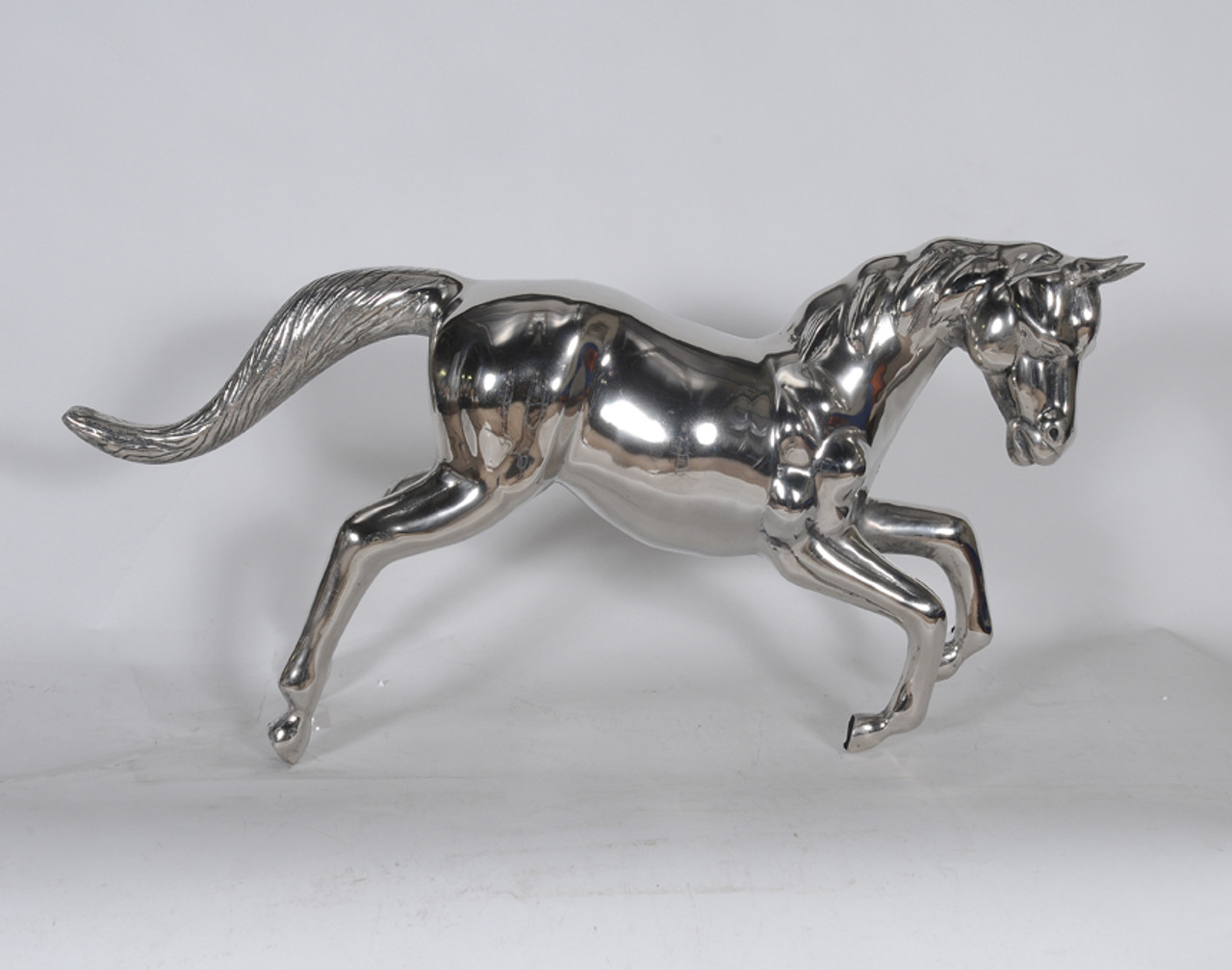 "Large Horse Statue Figurine 35"" Decorative Chrome Metal Home Decor"