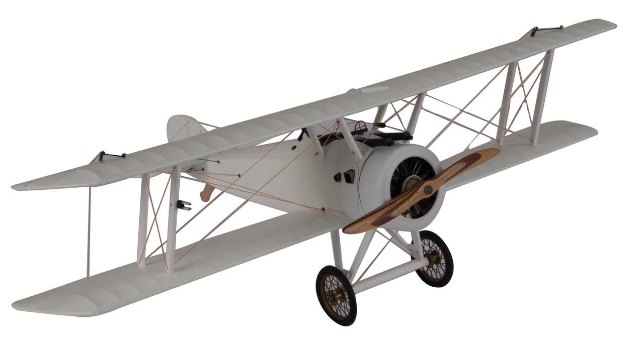 "White Sopwith Camel WWI Biplane Wood Model 10"" Desktop Decor"