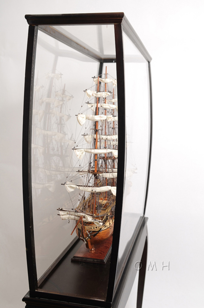 XL Wood Tall Ship Model Boat Display Case Cabinet Stand