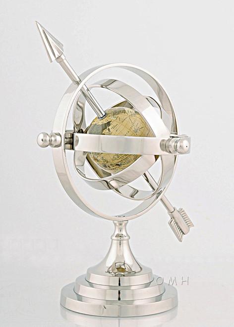 Aluminum Armillary Sphere Chrome Nickel Finish World Globe