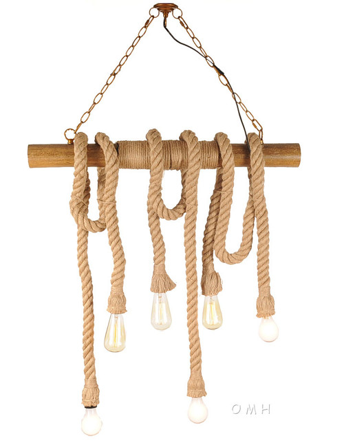 Nautical Rope Pendant Bamboo Hanging Lamp Ceiling Light