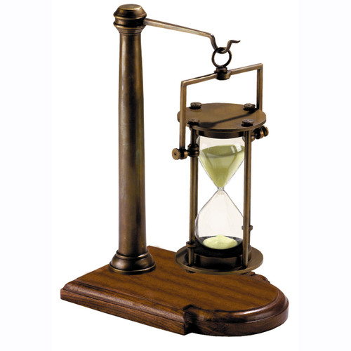 "Nautical Brass Hourglass w/ Stand 10"" Bronze 30 Minute Sand Timer"