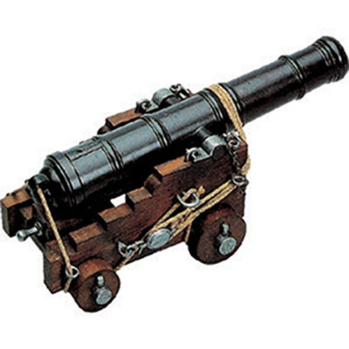 Naval Cannon Model 18th Century Wood Trunk