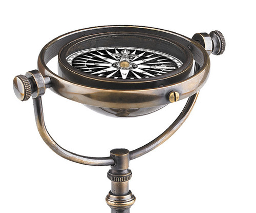 Collector's Compass Brass Antiqued Bronze Finish