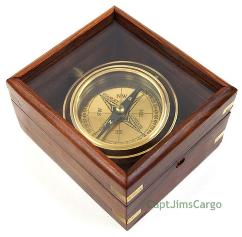 Brass Lifeboat Gimbal Ship Compass Display Case