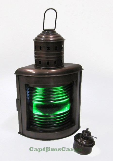 Starboard Running Light Lantern Oil Lamp Fresnel Lens