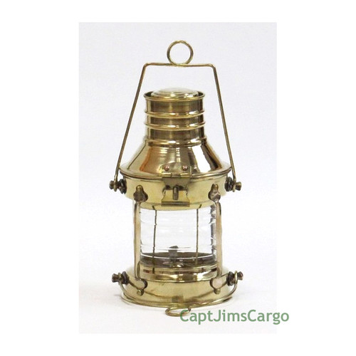 Brass Ships Anchor Oil Lamp Lantern Fresnel Lens