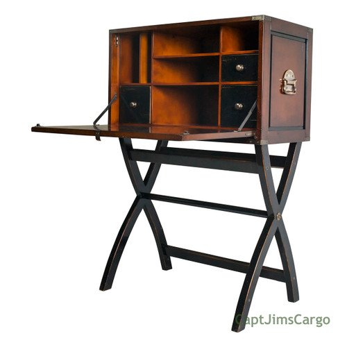 Campaign Cabinet Hidden Computer Desk Combo Nautical Decor
