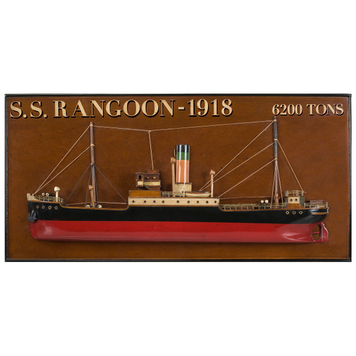 Rangoon 1918 Tramp Steamer Wooden Half Model