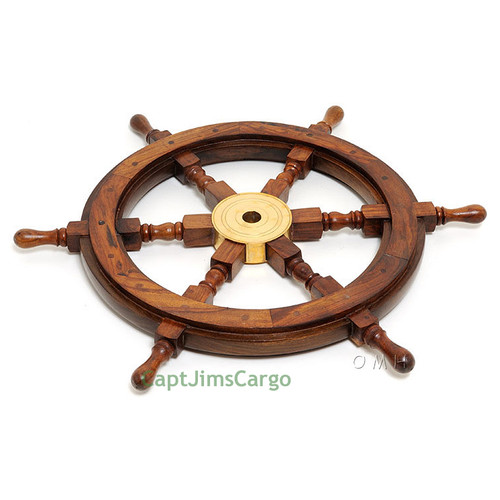 Rosewood Ships Wheel Brass Nautical Wall Decor
