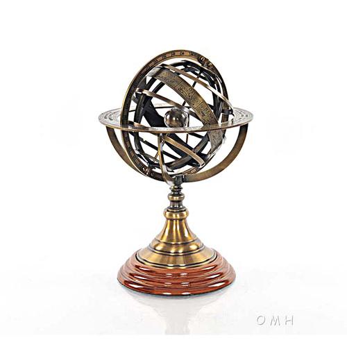 Brass Armillary Sphere Globe Hardwood Base Antiqued Finish