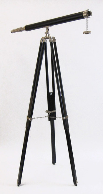 Leather Chromed Brass Refractor Chrome Telescope Tripod