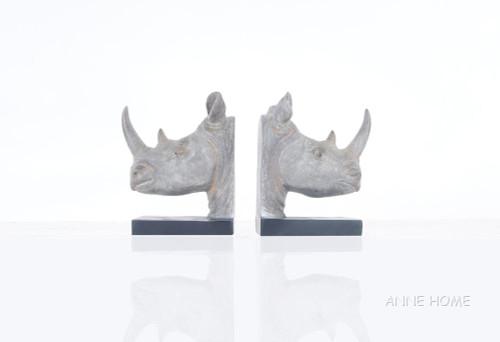 Rhinoceros Head Bookends Figurine Statue African Safari Decor