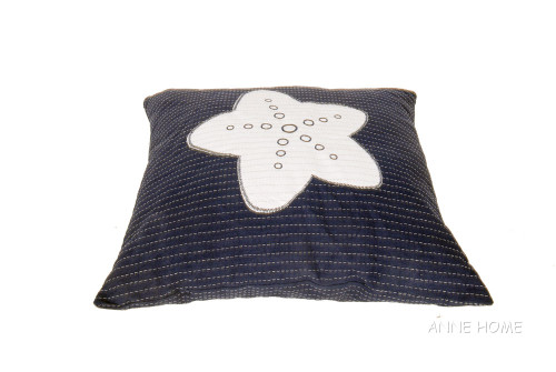 Nautical Throw Pillow Navy Blue White Starfish