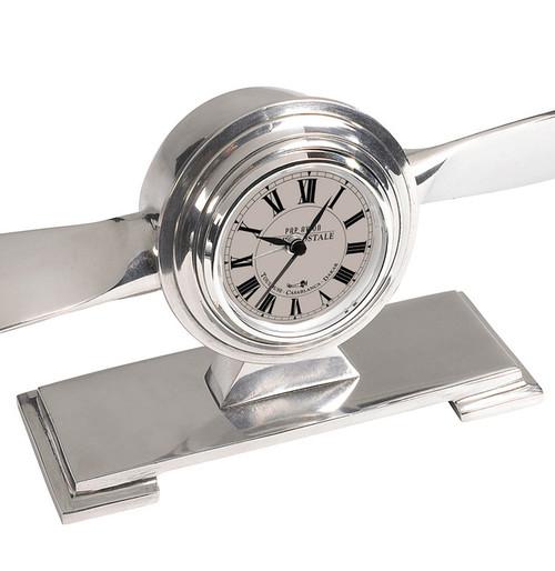 Propeller Desk Clock Trench Art Aluminum Aviation