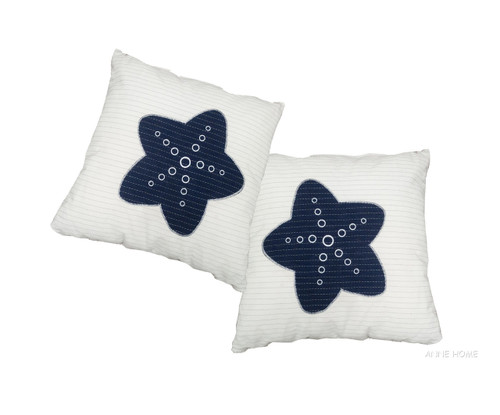 Throw Pillows White Navy Blue Starfish Coastal Decor