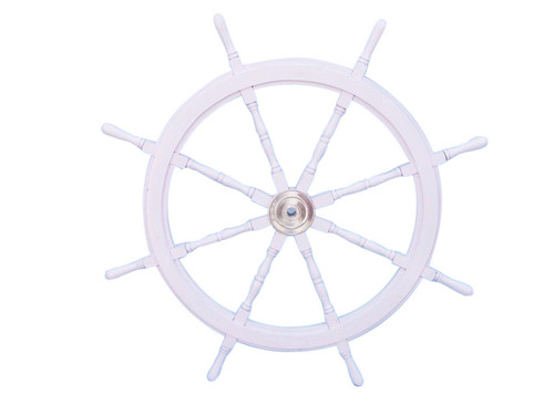 White Steering Wheel Chrome Hub Nautical Decor