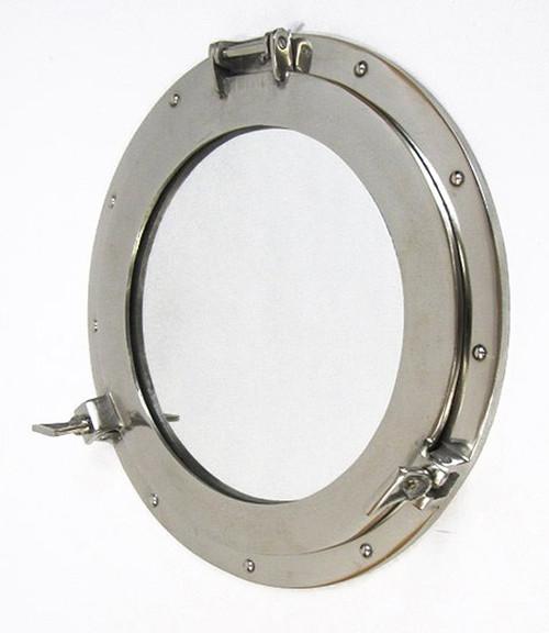 Aluminum Chrome Finish Ships Porthole Mirror Decor