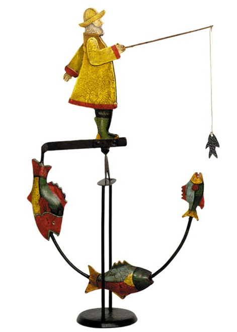 Fisherman Tetter Totter Tin Metal Balance Toy