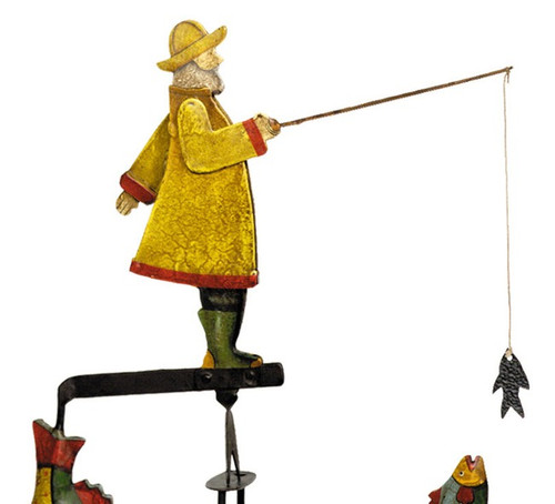 Antiqued Fisherman Tetter Totter Tin Metal Toy