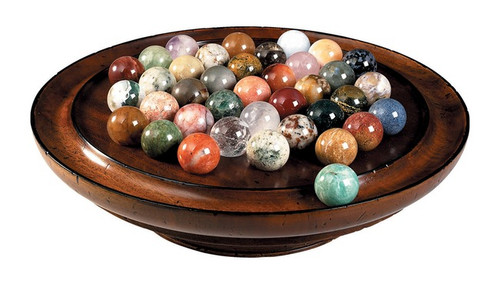 Solitaire Wooden Game Semi-Precious Gemstone 35mm Marbles