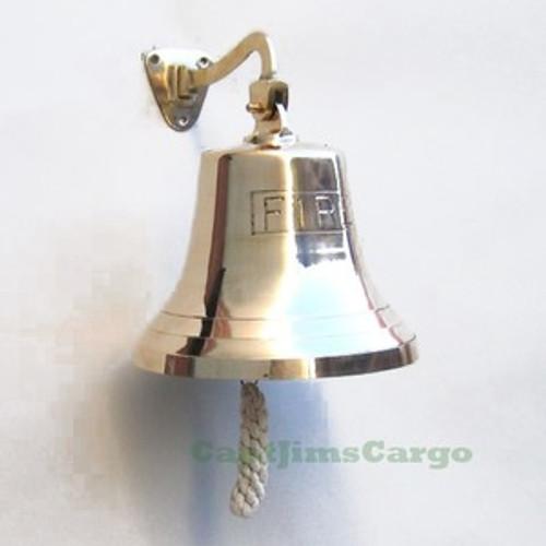 """""""FIRE"""" Nautical Cast Brass Ship's Bell Decor"""