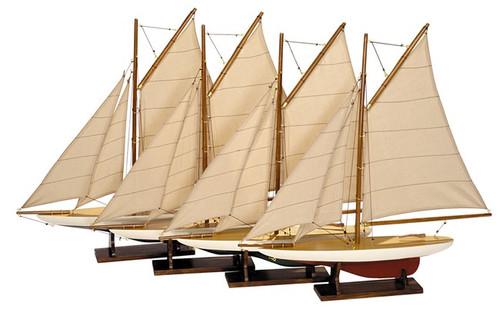 Mini Pond Model Sailboats Set of 4