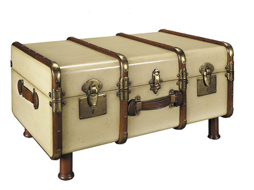 Stateroom Steamer Trunk Coffee Table Antiqued Ivory