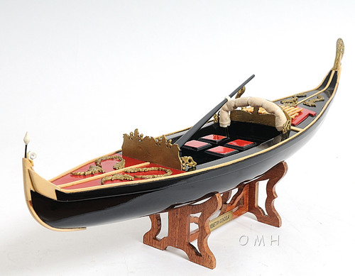 Handcrafted Venetian Gondola Wooden Work Boat Model