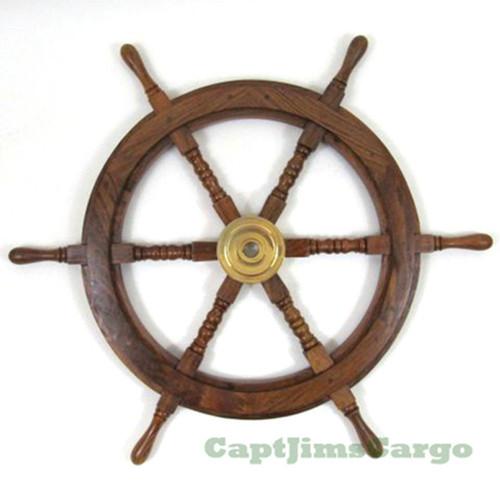 Teak Wood Boat Ships Wheel Brass Hub