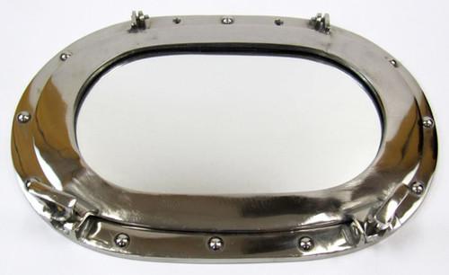 Aluminum Ships Oval Porthole Oblong Mirror Chrome