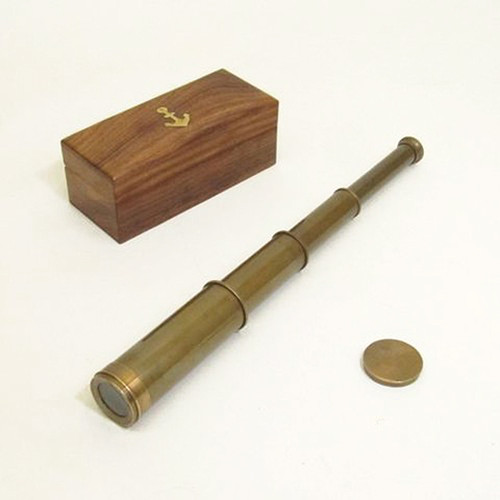 Antiqued Brass Pirate Spyglass Case Handheld Telescope