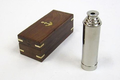 Chrome Finish Brass Pirate Spyglass Wooden Case Telescope