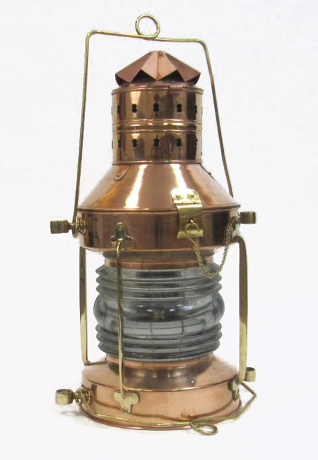 XL Ships Anchor Lantern Oil Lamp Copper Brass